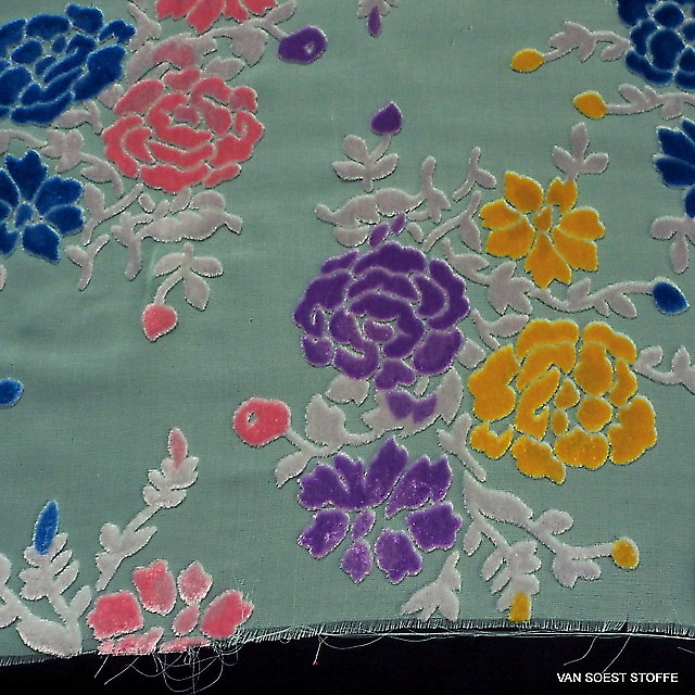 Seiden Samt Ausbrenner Rosen in  Lind Rosa Grau Blau Gelb Lila