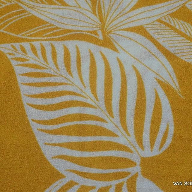 Burda style 100% Viskose Krepp Musselin Blatt Dessin in maisgelb