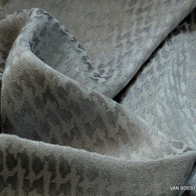 Cupro® - Rayon Hahnentritt in Silbergrau