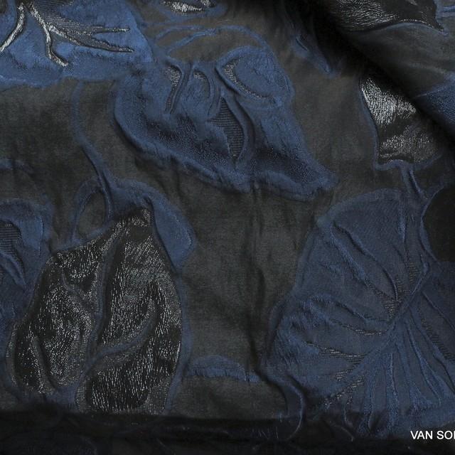 Dallas Couture Schwarz Lamé Blätter Jacquard in Schwarz - Blau - Schwarz