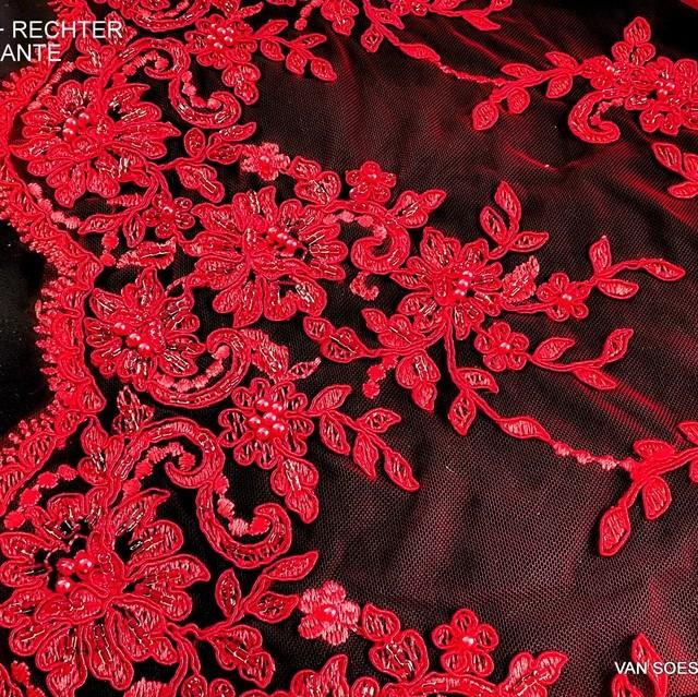 Doppel Bogen Couture mit Perlen + Straß Allover in Ton in Ton Scharlach Rot.