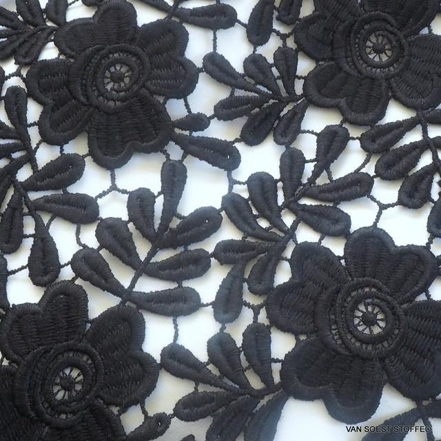 Guipure Blumen und Blätter Spitze in tief Schwarz
