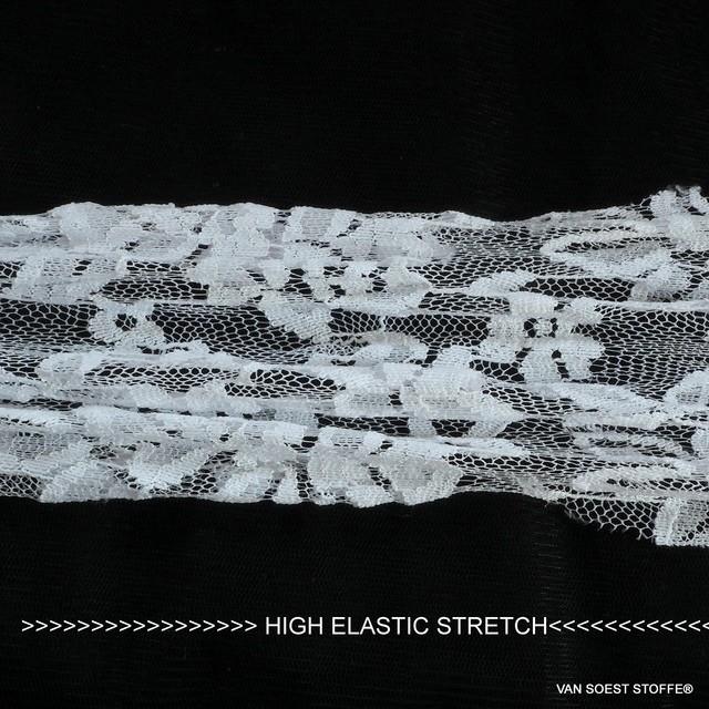 High Stretch Gemini Blumen Spitze in Weiß