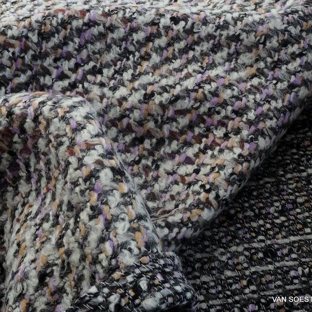 Hochwertiger softer Filicudi Bouclé Tweed in Grau-Lila