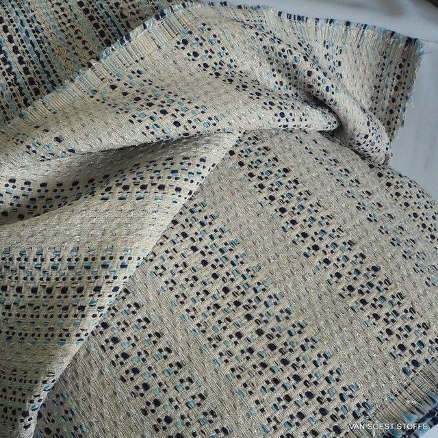 Jeans Tweed mit Silber Fäden durchwebt