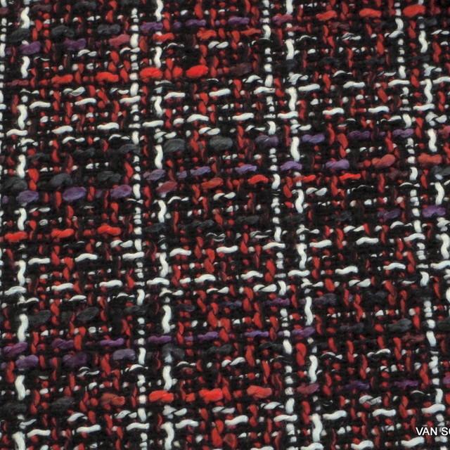 Modestoff Italien Bouclé Tweed in Violet-Rot-Schwarz