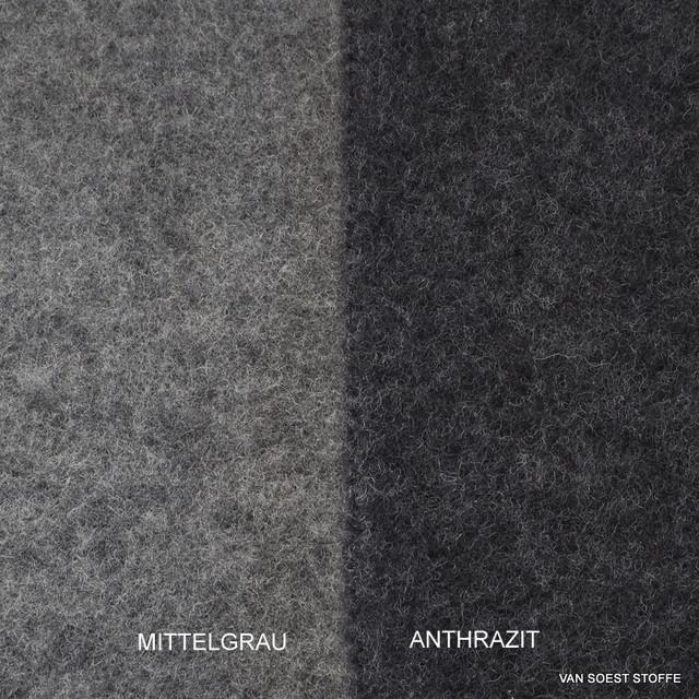 100% Schurwoll Fleece GOTS in Anthrazit