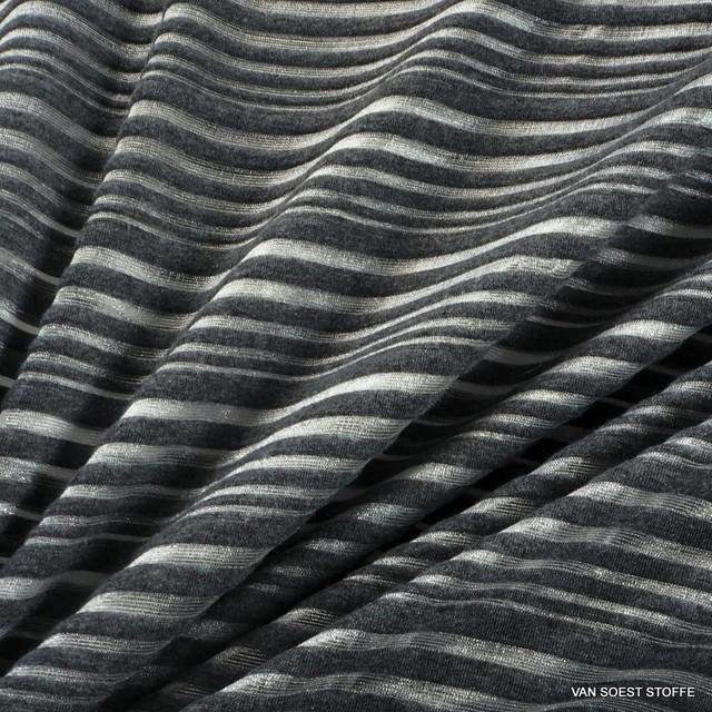Stretch Glanz Rib Streifen in Silber - Grau