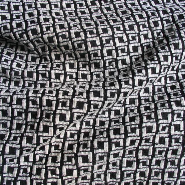 ausgefallene stoffe modestoffe spitzen jersey stretch mini karo in schwarz off white. Black Bedroom Furniture Sets. Home Design Ideas