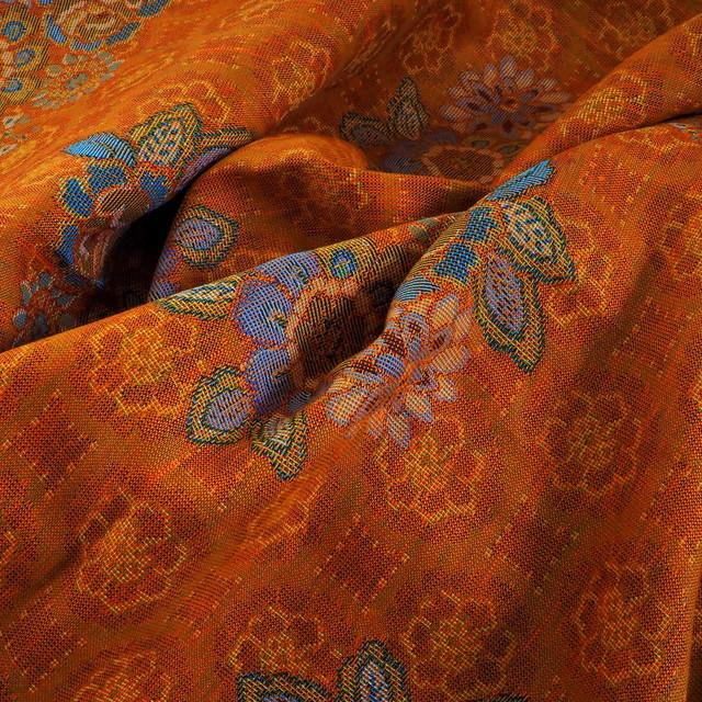Orange-farbiger Leinen Baumwoll Jacquard