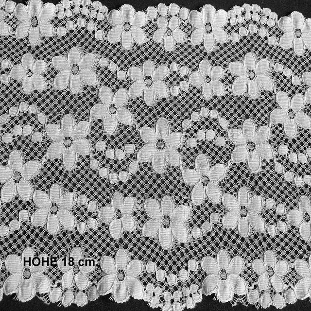 Stretch Elastik Spitze als Band in weiß in 18cm. Breite.