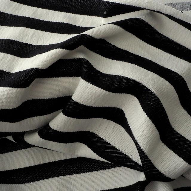 Stretch Quer Streifen Dobby Stoff in Schwarz - Weiß