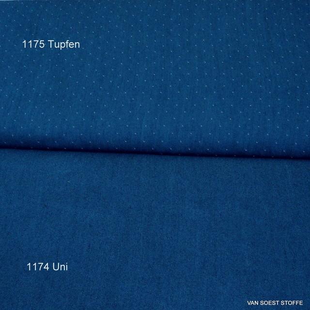 Weicher Jeans Tupfen Stoff in Jeans Blau 007