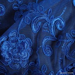 Stoff 3D Couturestoff Stoffe - Spitze in Kobalt Blau