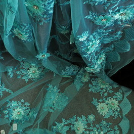 Stoff 3D Lind-farbige Lurex Blumen Stickerei mit Strass