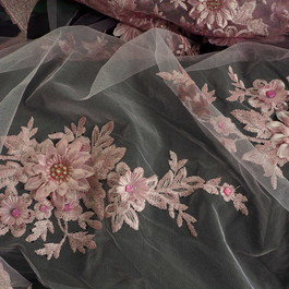 Stoff 3D Rosa Lurex Blumen Stickerei mit Strass