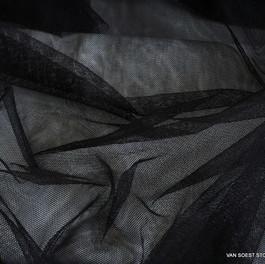 Stoff Baumwoll/Polyester Soft Tüll in Schwarz