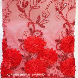 Stoff Blumen Bordüren Spitze auf Tüll in Scharlach Rot.