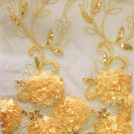 Stoff Blumen Bordüren Spitze in Gold / Gelb