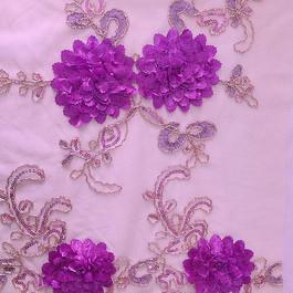 Stoff Blumen Bordüren Spitze in Lila