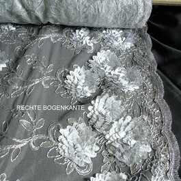 Stoff Blumen Bordüren Spitze in Silber/Silber