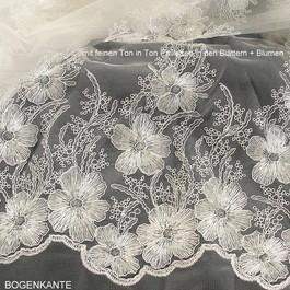 Stoff Blumen Spitze mit Ton in Ton Minipailletten in Weiß