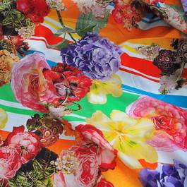 Stoff Blumen und Streifen bedruckter 100% Baumwoll Batist