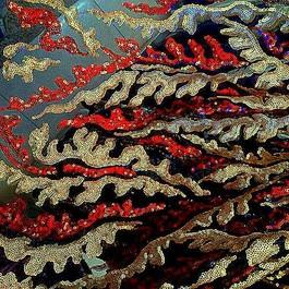 Stoff Couture Pailletten Rot Gold Schwarz