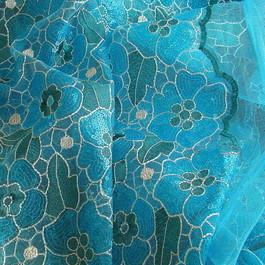 Stoff Farbige Pailletten Blüten Ton in Ton in Türkis