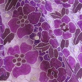 Stoff Farbige Pailletten Blüten Ton in Ton - LILA