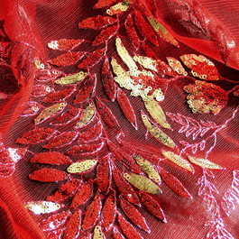 Stoff FLOWER PAILLETTEN COUTURE SPITZE ROT-GOLD