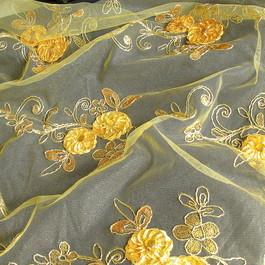 Stoff Goldene Blumen Spitze mit Straß - Steine und Goldfaden