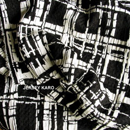 Stoff Jersey Jacquard Karo Black and Off-White