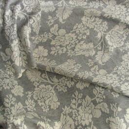 Stoff Jersey Stoff gemustert als Blumen Blätter Dessin in Grau - Weiß