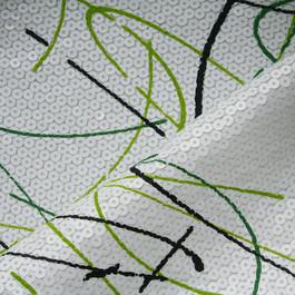 Stoff Pailletten-Dripping in Bianco Grassgrün und Schwarz