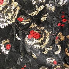 Stoff Schwarze Stickerei mit Mini Pailletten Blumen auf Jacquard Tüll Rot - Gold