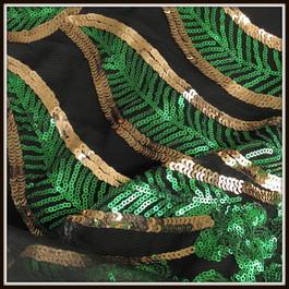 Stoff Smaragdgrün-Goldene Retro Twenties Blätter