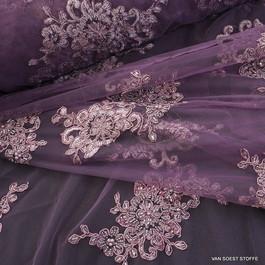 Stoff Stoff Spitze Blumenboucquets Perlen bestickt in dunkel Burgund