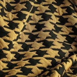 Stoff Stretch Hahnentritt Jersey Stoff in Camel Schwarz