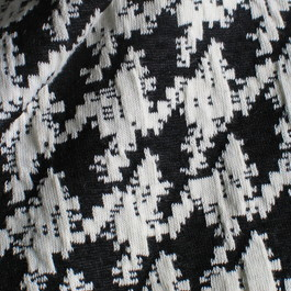 Stoff Stretch Jersey Hahnentritt Schwarz - Weiß