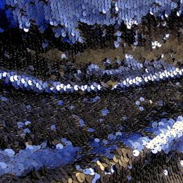 Stoff Stretch Zauber Pailletten Schwarz-Kobalt Blau Matt auf Jersey