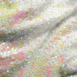 Stoff Stretch Zauber Pailletten Weiß - glänzend und fluorressierendes helles Pink / Gelb /Rosa auf weißer Jersey