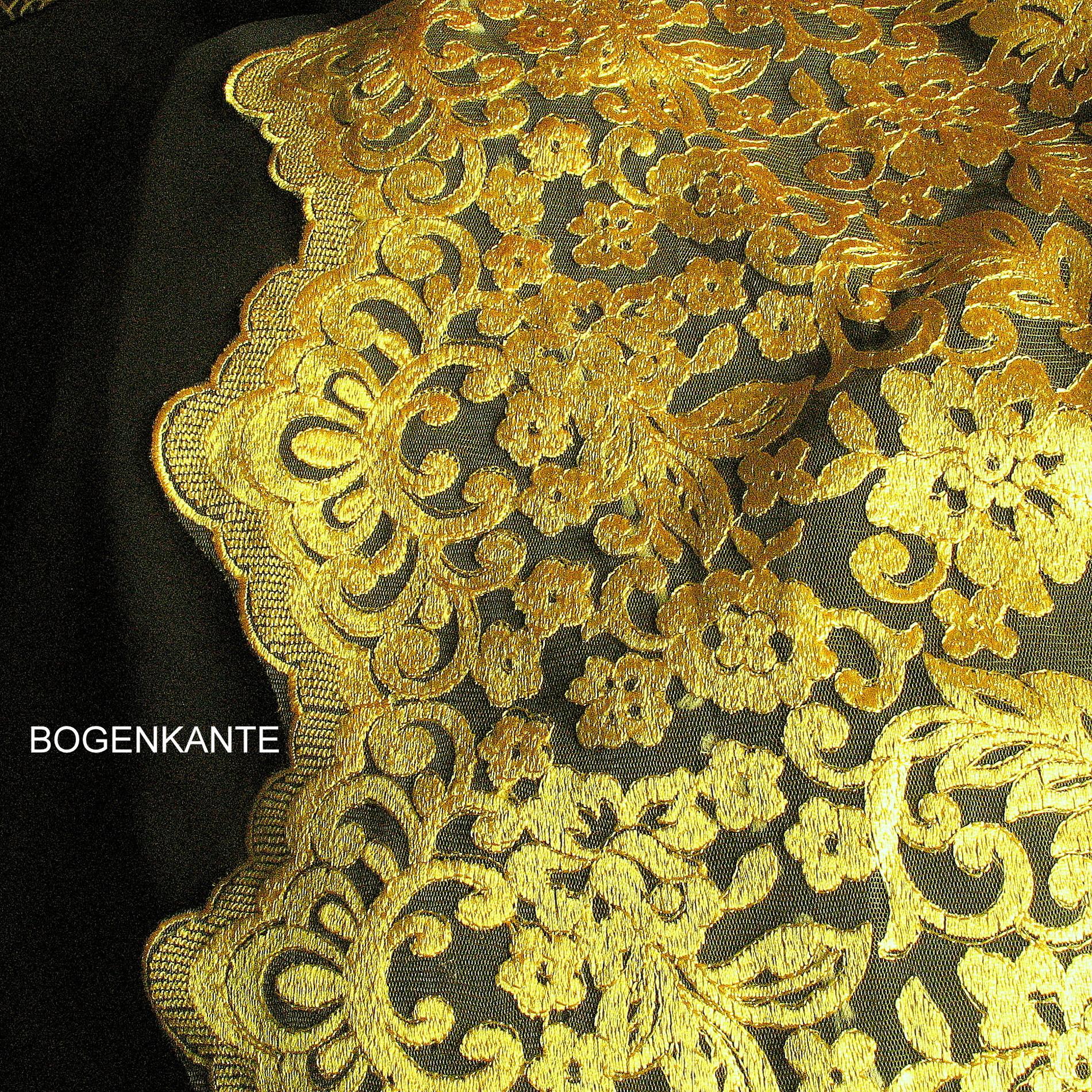 0871 gold bl tter in gold gelb auf gelben t ll bestickte Markisenstoff meterware schweiz