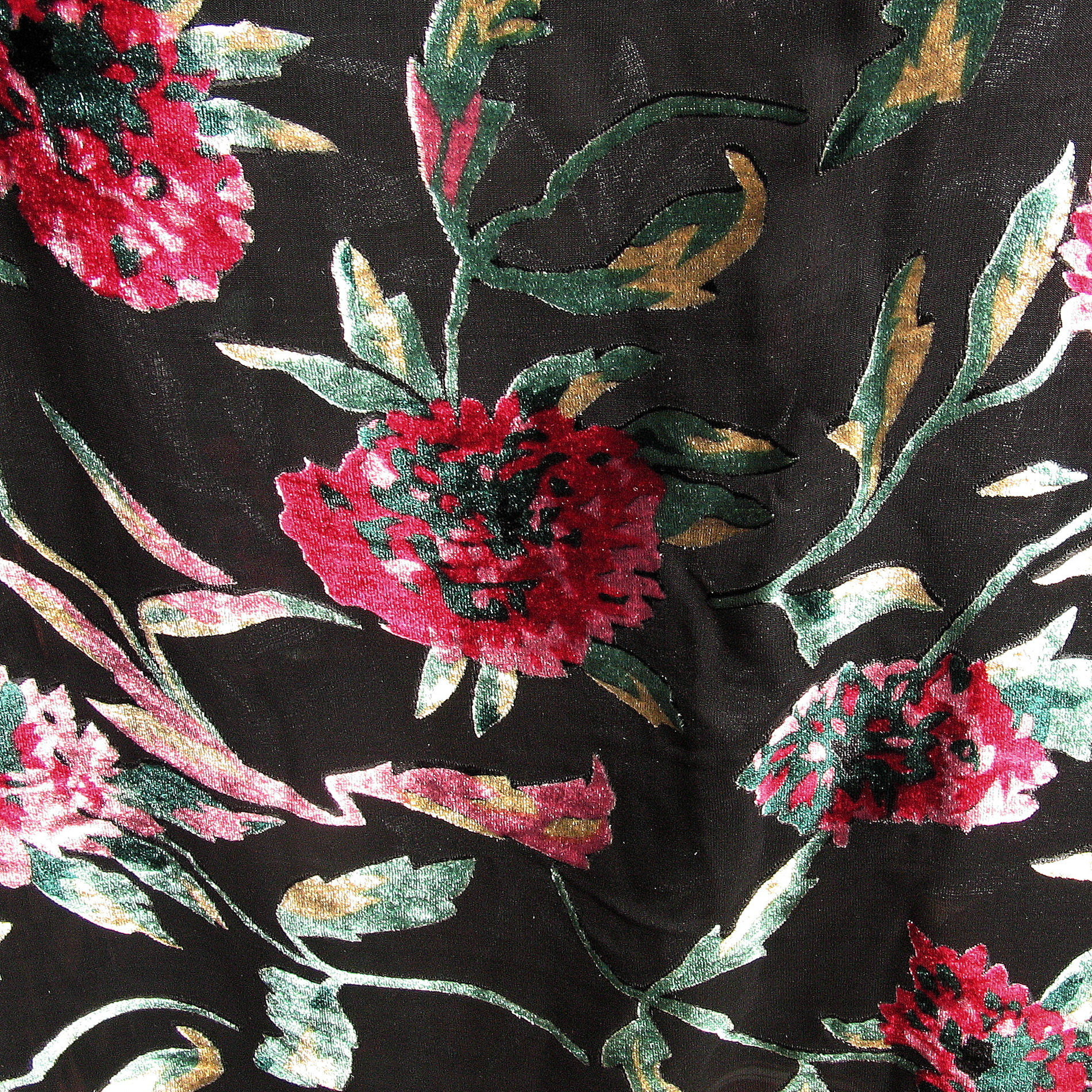 seiden ausbrenner ranken blumen in schwarz burgund rot nougat gr n gemusterte stoffe. Black Bedroom Furniture Sets. Home Design Ideas