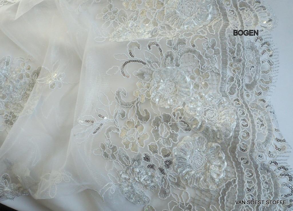 Weiß - Weiße Blumen Spitze auf weißen Tüll bestickt | Bestickte ...