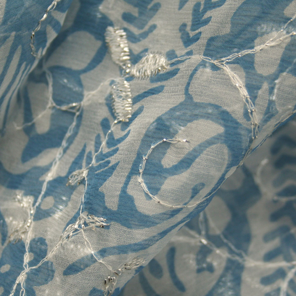 Seiden Chiffon in bleu weiß metallic Italian Design!   Gemusterte ... 78f1f5bc48